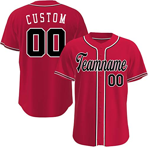 Custom Baseball Jerseys Personalized Basketball Crossover Basketball Shirts Hip Hop Clothing for Men Women (Red Black)