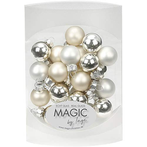 MAGIC 25 STK. Weihnachtskugel 2cm Glas Weihnachtsschmuck Weihnachtsdeko Deko Box Farbe: Cloud Dancer - weiß Elfenbein Champagner