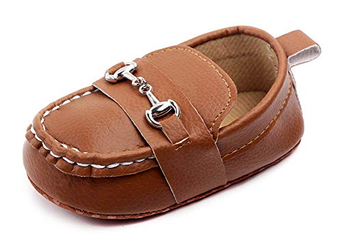 Anrenity Baby Loafers for Infant Boys Girls Crib Flat Boat Shoes Soft Soled Moccasin DDX-004 Brown 12