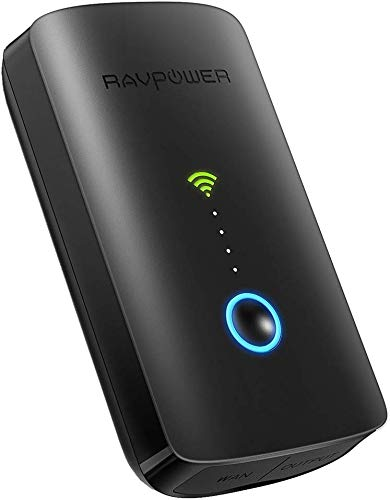 RAVPOWER FileHub Router WiFi Portatile, Ripetitore WiFi, Lettore per SD Card Fino a 256G, Hard Disk Wireless, Powerbank da 6000mAh, Hotspot, Access Point per Dischi e Ciavetta USB, File Share, Nero
