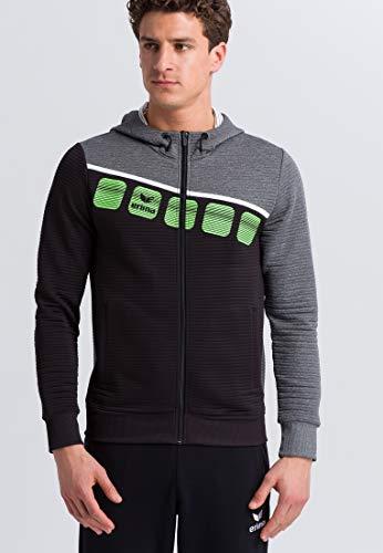 Erima 5-C Veste d'entraînement avec Capuche Jacket Mixte Adulte, Noir/Gris chiné/Blanc, FR : 2XL (Taille Fabricant : XXL)