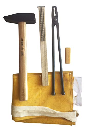 Hammer & Tongs Blacksmith Tools Starter Kit, with wolf jaw tongs, cross peen hammer, leather apron, safety glasses, beeswax, steel brush - 6 item set