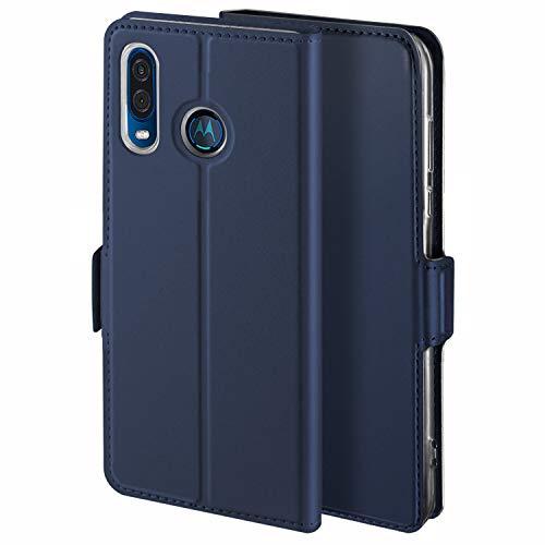 HoneyCase für Handyhülle Motorola One Vision Hülle für Moto P40 Hülle Premium Leder Flip Schutzhülle für Moto One Vision/P40 Tasche, Blau