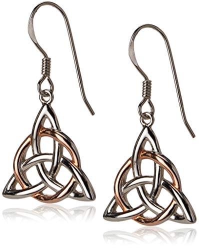 14k Rose Gold Plated Sterling Silver Two Tone Celtic Triquetra Trinity Knot Triangle Drop Earrings