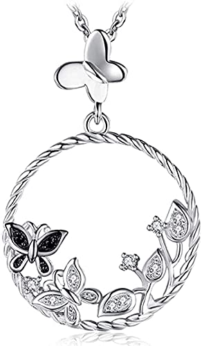 NC198 Collar de Plata Flor de Mariposa Collar con Colgante de espinela Natural Collar de Piedras Preciosas Collar sin Cadena para Mujer