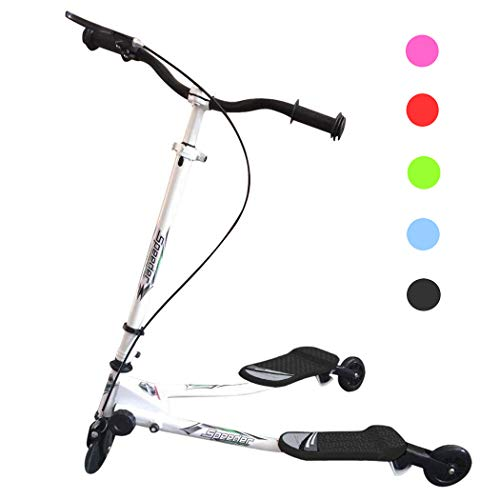 Y Flicker Swing Scooter, Swing Wiggle Scooter, Adjustable 3 Wheels Foldable Driving Push Drifter for Kids Age 4 Years Old and Up (Black)