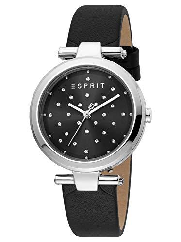 Esprit ES1L167L0025 Fine Dot horloge dameshorloge lederen armband 5 bar analoog zwart