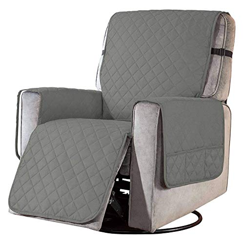 WLVG Reversible Recliner Chair Cover Recliner Slipcover, Soft Recliner Cover Sofa Slipcover Armchair Covers Furniture Protector For Recliner Armchair-Light gray-S