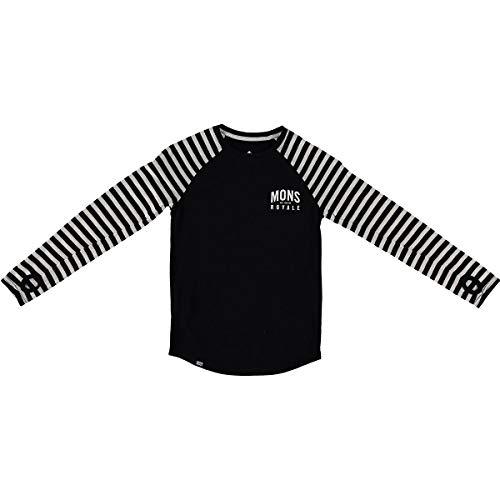 Mons Royale Mädchen Groms LS, Black/Thick Stripe, 10