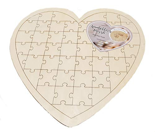 Spetebo DIY Herz Puzzle 49 Teile - Holz Hochzeit Gästebuch - Geburtstagskarte Geschenk Idee Hochzeits Gästebuch