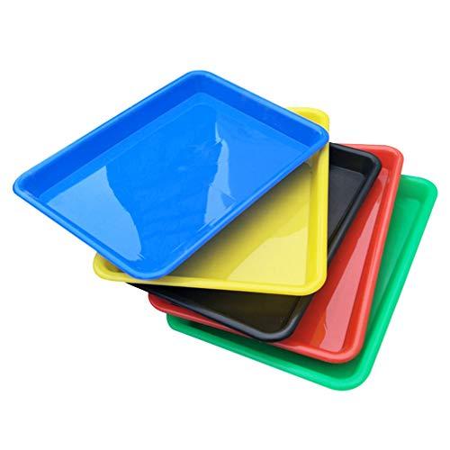Heally - Bandeja de servicio rectangular de plástico, 5 unidades, para frutas, comida pequeña, café, cupcake cena, bandeja de colores aleatorios