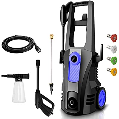 TEANDE 3500 PSI Electric Pressure Washer, High Pressure Washer, Professional Washer Cleaner Machine with 4 Interchangeable Nozzles,2.6 GPM,1800W(Blue)