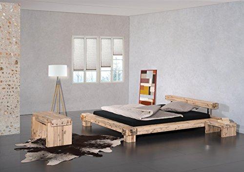 Modular Bett Lota, Akazie massiv, Weiss lasiert, 180 x 200 cm