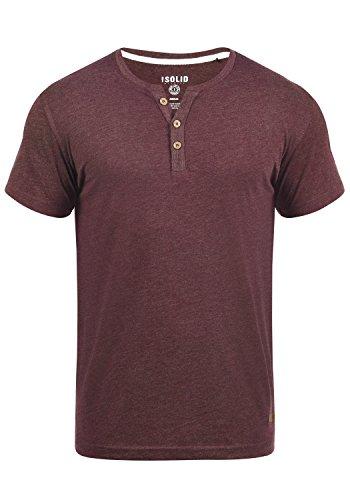 !Solid Volker Herren T-Shirt Kurzarm Shirt Mit Grandad-Ausschnitt, Größe:S, Farbe:Wine Red Melange (8985)