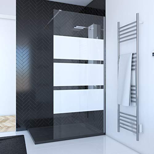 Aurlane - Mampara de ducha italiana (90 x 200 cm, cristal de 6 mm, serigrafiado + barra de fijación