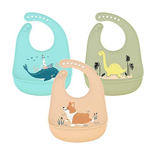 3 Pcs Bebé Baberos de Silicona Impermeable Baberos de Alimentación con Bolsillo Baberos Suave que se Limpia Fácilmente para Bebés o Niños Pequeños Comiendo
