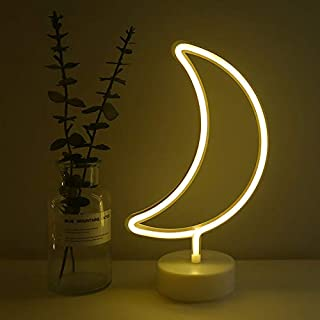 Warm White Moon Neon Sign Night Light Lamp with Holder Base Decorative Marquee Signs Light Battery Operated Wall Decoration for Living Room Bedroom Christmas Party Supplies Kids Toys Birthday Gifts