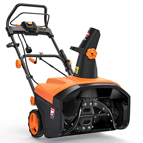TACKLIFE Snow Blower, 15-Amp, Electric Snow Thrower, 20'' Working Width, 180°Chute Rotation, 30' Throwing Distance, Snow Shovel & Flashlight Included