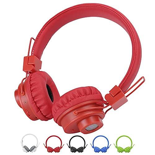 Auriculares Bluetooth sobre Oreja, Auriculares inalámbricos Control de Aplicaciones TF TARD FM Radio Auriculares para teléfonos celulares, TV, PC y Viajes (Azul: Rojo) YXF99 (Color : Red)