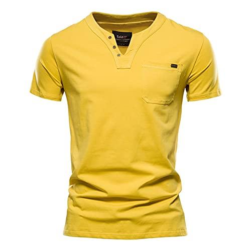 Camiseta De AlgodóN De para Hombre, Camiseta con Cuello En V con DiseñO De Color SóLido, Camiseta Informal CláSica para Hombre, Camiseta para Hombre