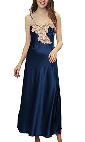 Dolamen Chemises de Nuit Femmes Satin, 2018 Femmes Ensemble de Pyjama, Dentelle Lingerie Spaghetti Strap Chemise Babydoll Chemise de Nuit Longue (X-Large, Bleu)