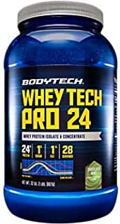 BodyTech Whey Tech Pro 24 Protein Powder Protein Enzyme Blend with BCAA's to Fuel Muscle Growth Recovery, Ideal for PostWo...