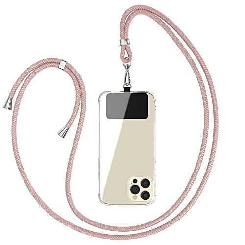 EAZY CASE Universal Handykette geeignet für alle Smartphones, Kette zum Umhängen, Hülle mit Kordel, Smartphonekette für Unterwegs, Handyband mit jeder Hülle kombinierbar, Rosé-Gold