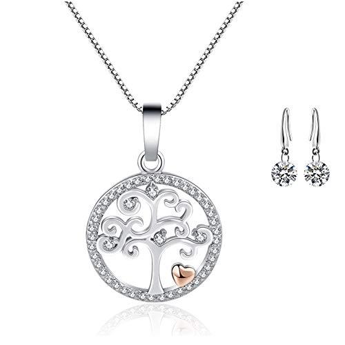 Collar de mujer Colgante de árbol de vida Collar / Cubic Zirconia Clavícula Cadena corta / Exquisita joyería Regalo de San Valentín para mujer