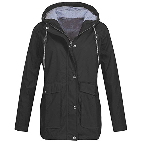 DORIC Womens Outdoor Lightweight Jacket Waterproof Windproof Rain Jackets Hooded Raincoat Windbreaker