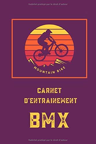 Carnet d'entrainement BMX | journal de bord - cahier à remplir | 100 pages à compléter - 3 entraînements par jour | papier crème - couverture mauve ... journal de bord, cahier à remplir