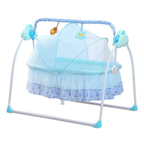 Cuna eléctrica columpio para bebé automático, bascula para bebé, color azul con alfombra mosquiteras