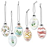 Lillian Vernon Hand Painted Pastel Glass Easter Egg Ornaments - Holiday Home Decor, Spring Themed Tree Decorations, Outdoor & Indoor Use, 1 ½ Inches x 2 Inches, 6 Designs, Set of 12