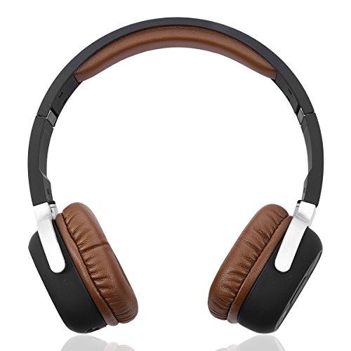 PIXNOR Faltbarer Funkkopfhörer Bluetooth 4.1 mit NFC Schrittzähler - Braun