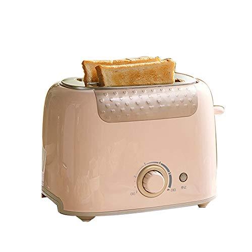 NAFE Mini tostadora automática multifunción, calefacción rápida hogar 2 rebanadas Tostadas de Pan sándwich máquina de Desayuno Acero Inoxidable-Pink