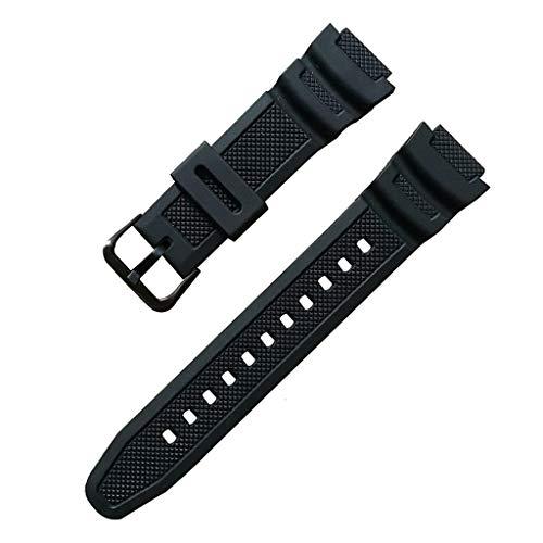 Huhudde Pulseira de silicone de substituição para relógio com fivela de aço inoxidável esportiva respirável para relógio CA-sio W-735H W-800 SGW-300H SGW-400H Series Samrt