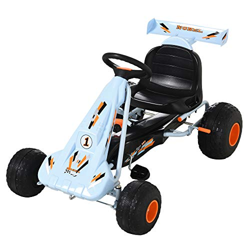 HOMCOM Go-Kart a Pedales para Niños de +3 Años Coche de Pedales con Freno Asiento Ajustable Carga Máx. 35 kg 97x66x59cm Azul