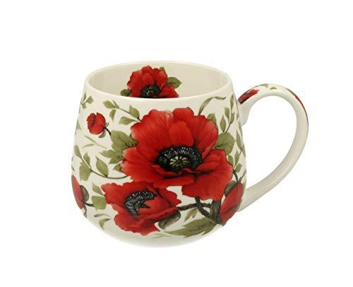 Duo Tee-Tasse Kaffeetasse Kaffeebecher Teebecher Variante OHNE Sieb und Deckel Porzellan Teetasse bauchig Geschenk-Tasse Blumen Cup 400 ml Geschenkbox Becher (Mohn OHNE Filter)