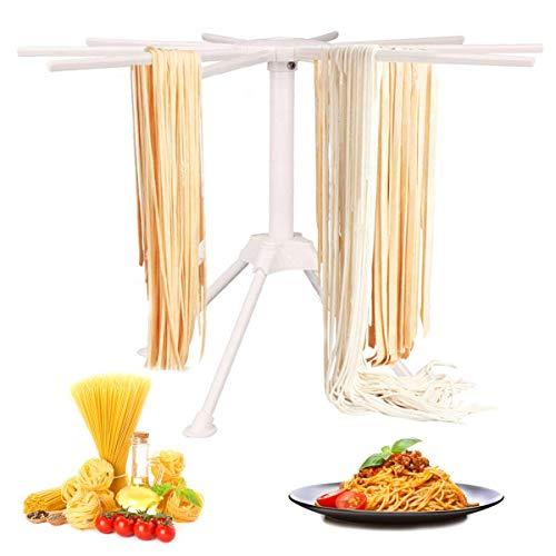 GOZIHA - Soporte para secado de pasta con 10 asas de barra plegables | Soporte para secador de fideos para el hogar | Soporte para secado de espaguetis | Fácil almacenamiento y montaje rápido (blanco)
