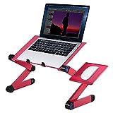 Ejoyous Escritorio para ordenador portátil, ajustable 360 grados y plegable, 2 ventiladores incorporados para ordenador portátil con plataforma para ratón (rosa rojo)