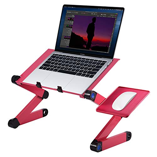 Adjustable Multi-angle Laptop PC Stand 360 ° Adjustable Folding Laptop Desk Stand with Dual Cooling Fan Mouse Holder for Laptop (10-17 inch) (rosa rossa)