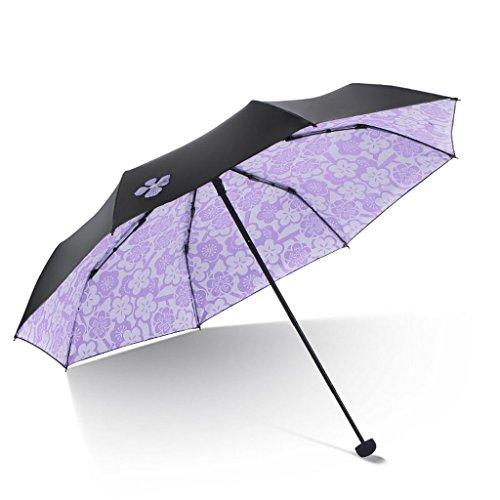 miwaimao Sombrilla plegable, protección solar ultra violeta, de vinilo, portátil, color morado