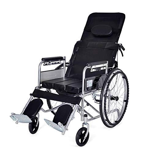 FLHLH Manueller Rollstuhl Mit Hoher Rückenlehne, Liegestuhl Kommode Stuhl Vergrößerte Bettpfanne Zweihandbremse Für Ältere Menschen Mit Behinderung