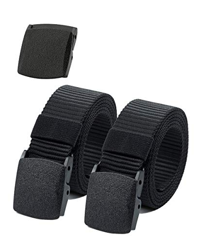 ViViKiNG Waist Belt Nylon Canvas Hiker Belt Military Tactical Belt Plastic Buckle (2pcs. All Black)