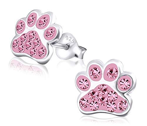 Laimons Kids Orecchini a pressione per bambini gioielli per bambini Zampa di cane Rosa Con brillantini Argento Sterling 925