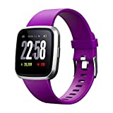 V12C Fitness Smart Watch with 24/7 Heart Rate Monitor, IP68 Waterproof Activitity Tracker Pedometer Watch, Health Monitor Watch with Blood Pressure Sleep Monitor for Women Girls Teens (Purple)