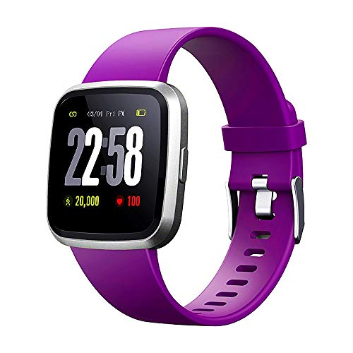 H4 Fitness Health 2in1 Smart Watch for Men Women Smartwatch with All-Day Heart Rate/Blood Pressure/Sleep Monitor IP67 Waterproof Sports Activitity Tracker Bluetooth Watch (Violet)
