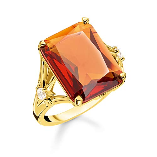 Thomas Sabo Damen-Ring Stein Orange groß mit Stern 925 Sterlingsilber gelbgold vergoldet TR2261-971-8-48