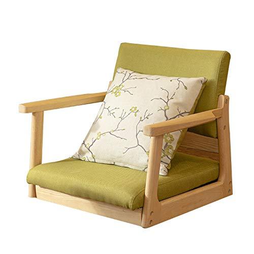 YKQ Im japanischen Stil Bodenstuhl Tatami Hocker mit Rückenlehne und Armlehnen Kissen Massivholz Holz Farbe for Tatami (Color : Natural Wooden, Size : Green Linen)