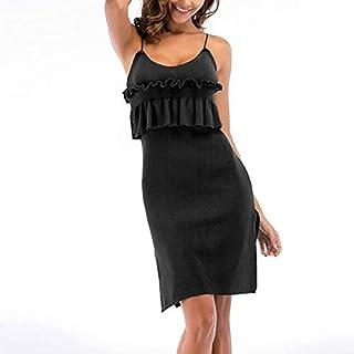 QGTDRESS Women Knitted Pleated Wooden Ear Strap Hem Open Fork Dress, Size: M(Gray) (Color : Black)