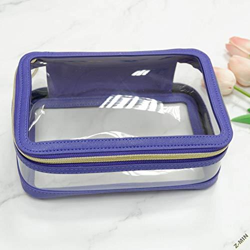 Z-MIN Sac de Toilette Portable étanche à l'eau, Sac cosmétique Transparent, Violet